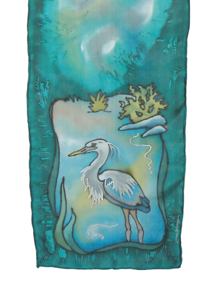 Hand-painted silk scarf teal and blue heron design