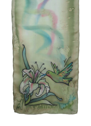 Hand-painted silk scarf soft green hummingbird design