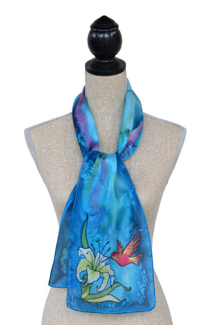 Hand-painted silk hummingbird scarf on mannequin
