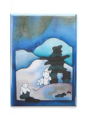"Inuksuk and Polar Bears Magnet | 2.5""x3.5"""
