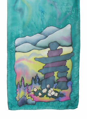 Summer inuksuk silk scarf in marina mist (blue-green)