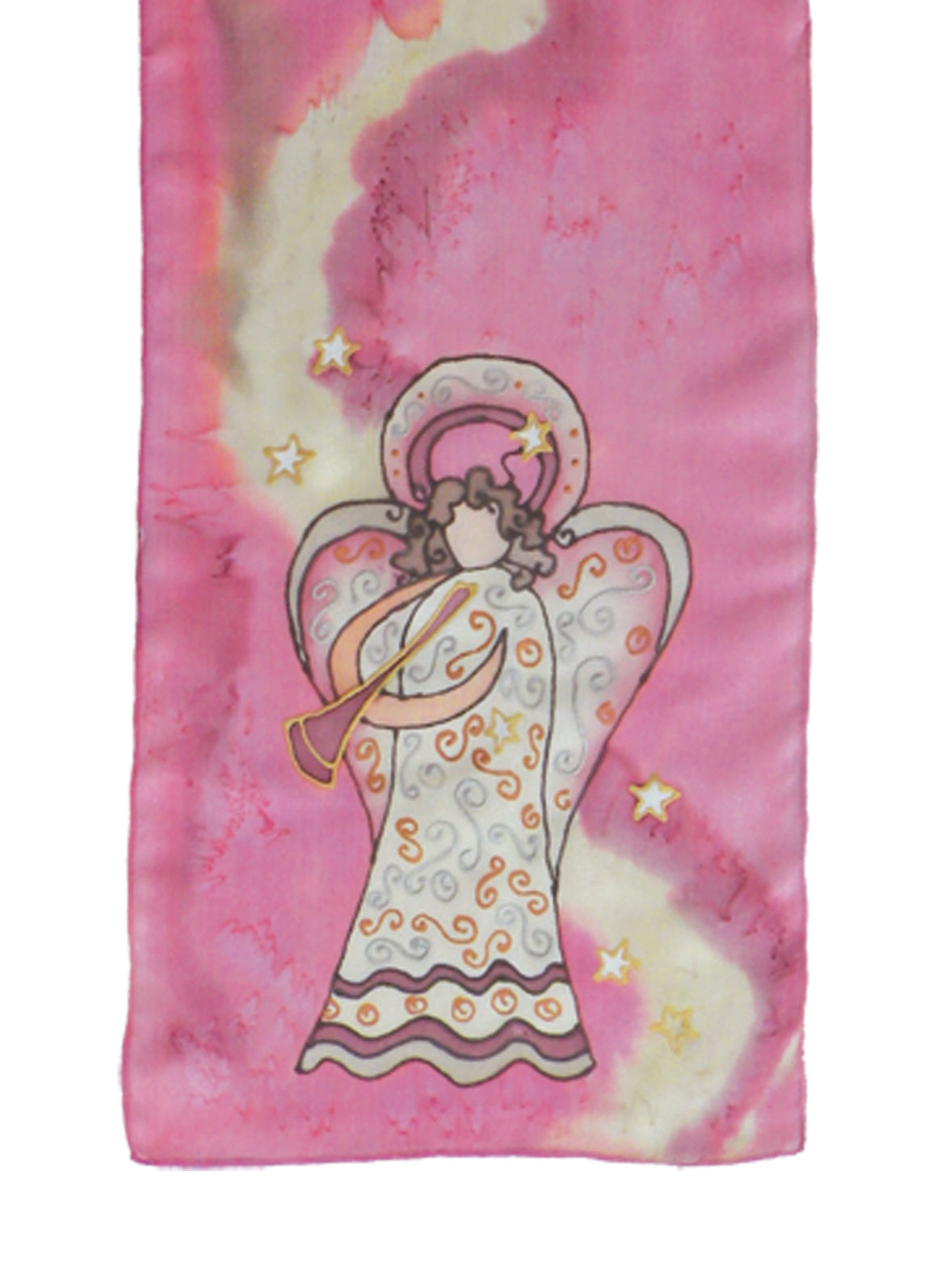 Hand-painted silk scarf blue and beige angel design