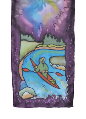 Hand-painted silk scarf kayak design purple and blue
