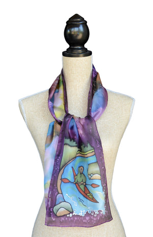 Dark plum kayaker scarf shown on mannequin