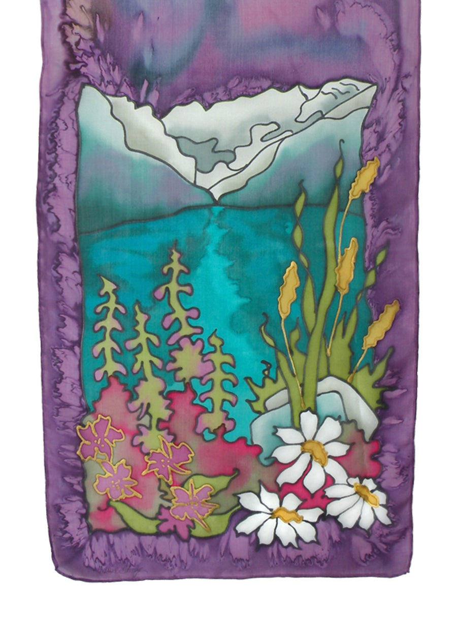 Hand-painted silk rocky mountain flowers design in blue