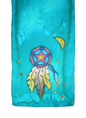 Hand-painted silk scarf turquoise lone star design
