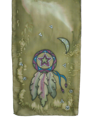 Hand-painted silk scarf green and purple lone star design