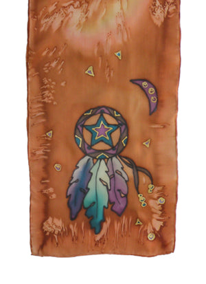 Hand-painted silk scarf brown and purple lone star design