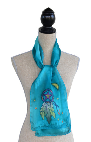 Hand-painted silk lone star design scarf on mannequin