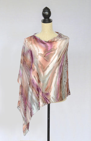 "Silk-Satin Poncho Coverup | 25"" Depth 