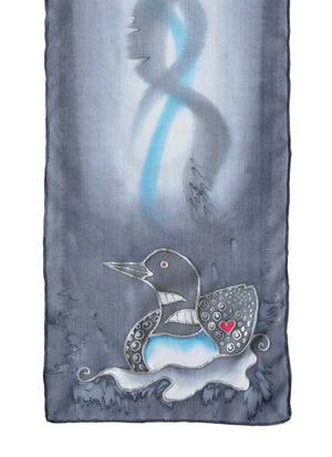 Hand-Painted silk scarf with Canadian loon design in medium grey