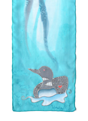 Hand-Painted silk scarf with Canadian loon design in tint lagoon blue (mint)