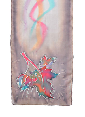 Canadian maple leaf hand-painted silk scarf in desert sand (taupe)