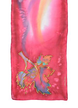 Canadian maple leaf hand-painted silk scarf in rich red