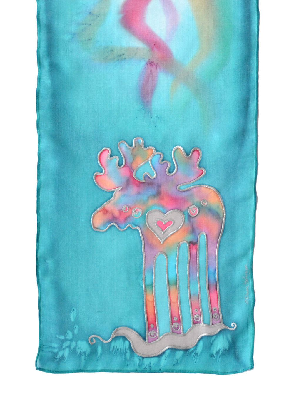 Hand-painted silk scarf with Canadian moose design in lagoon blue (muted turquoise)