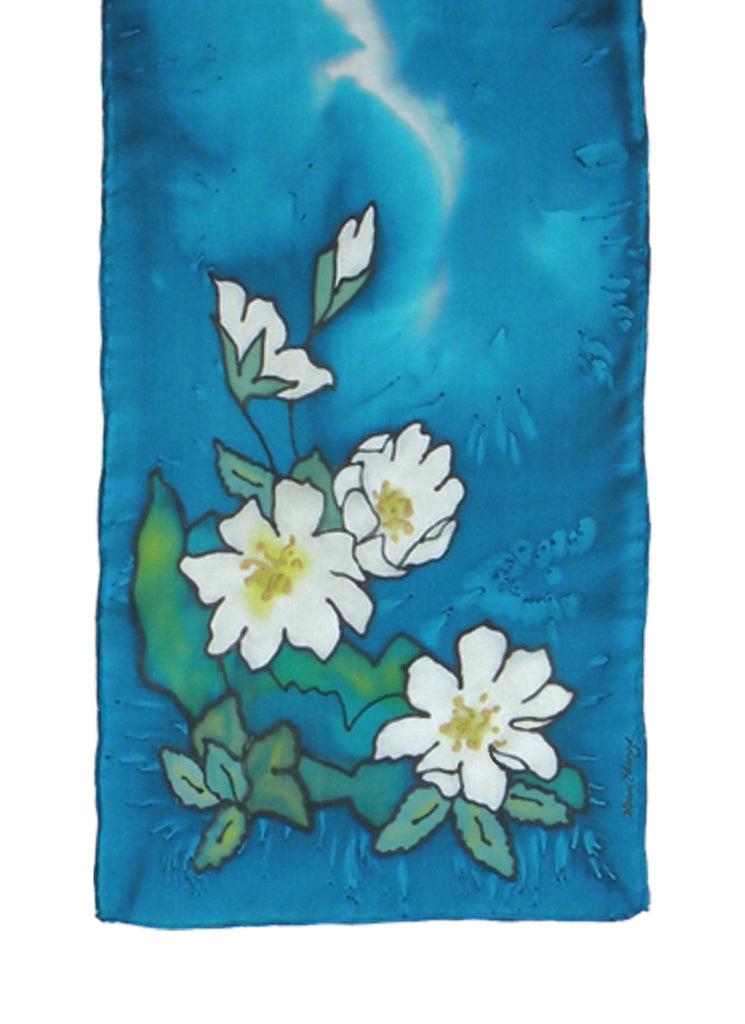 Hand-painted silk scarf floral design blue and white