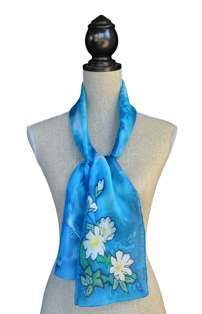Ocean blue mountain aven scarf shown on mannequin