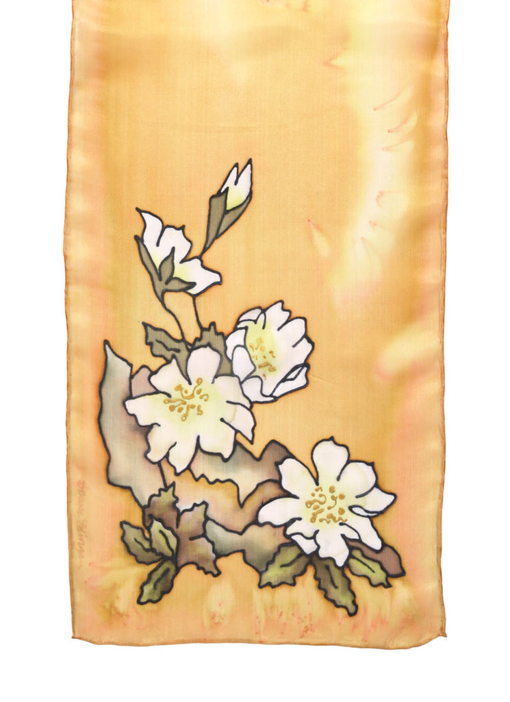 Silk scarf with mountain aven design in palomino yellow