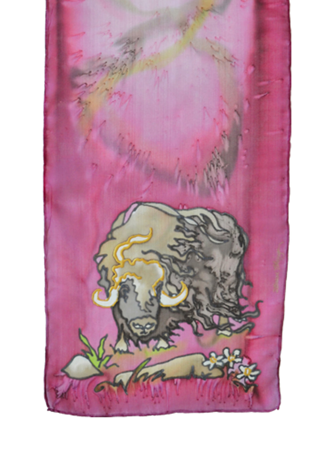 Hand-painted silk scarf muskox design pink and brown