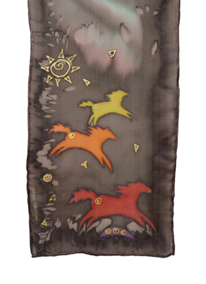 Hand-painted silk scarf brown and orange wild horse design