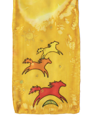 Hand-painted silk scarf yellow and orange wild horse design