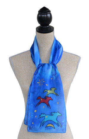 Hand-painted silk scarf wild horse design on mannequin