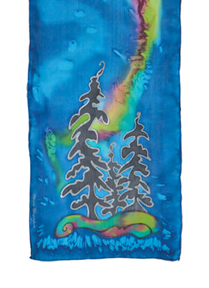Hand-painted silk scarf northern lights design tree design blue and green