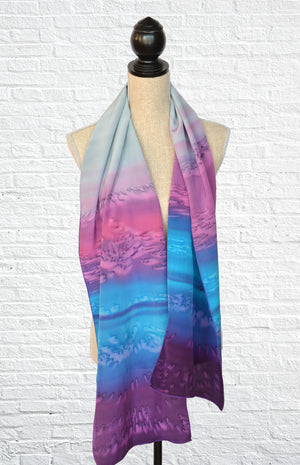 "Silk ombre fashion scarf in ""Amethyst"" (purple and blue tones)"