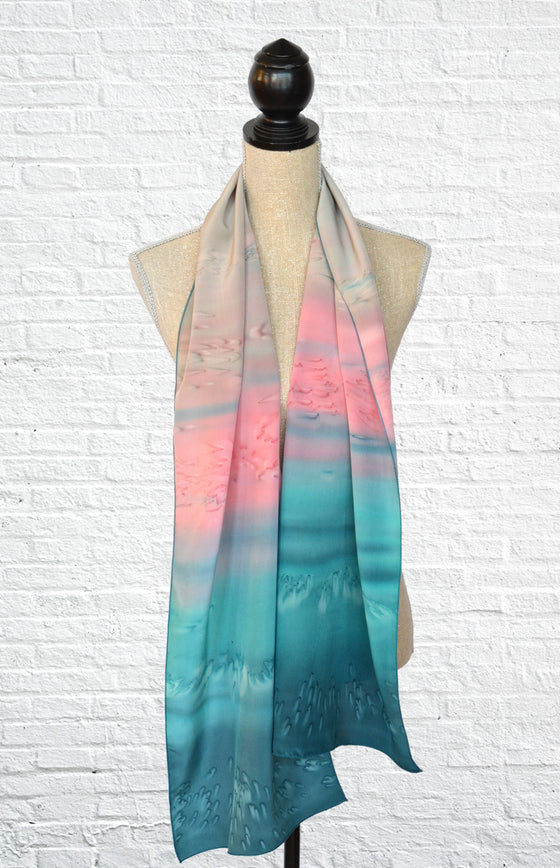 "Silk ombre fashion scarf in ""Dark Opal"" (light and dark teal with pink)"