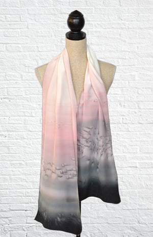 "Silk ombre fashion scarf in ""Marble"" (black, white, and pink)"
