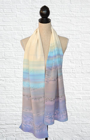 "Silk ombre fashion scarf in ""Moonstone"" (cream, lavender purple, and pale blue)"
