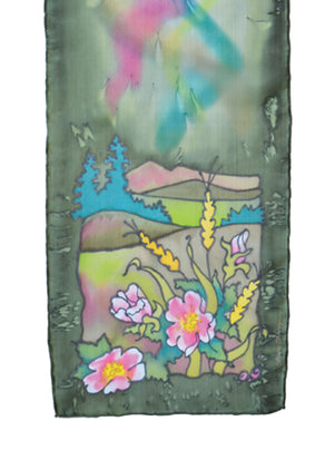Hand-painted silk scarf green and pink wild rose prairie scene