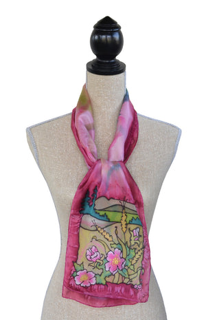 Hand-painted silk scarf wild rose prairie scene on mannequin