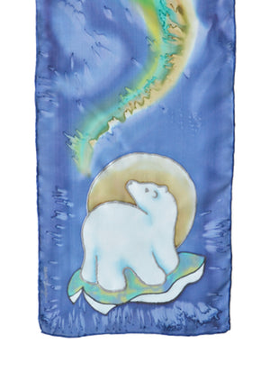 Hand-painted silk scarf polar bear design purple and green