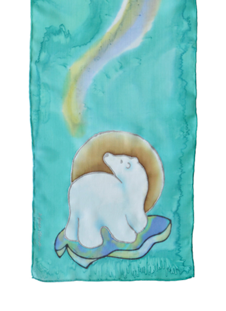 Hand-painted silk scarf polar bear design mint green and purple