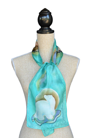 Mint polar bear scarf shown on mannequin