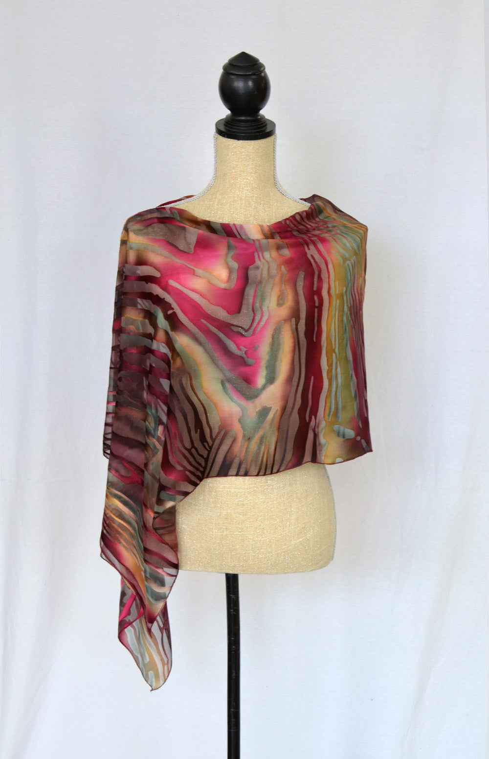 "Silk-Satin Poncho Coverup | 19"" Depth 