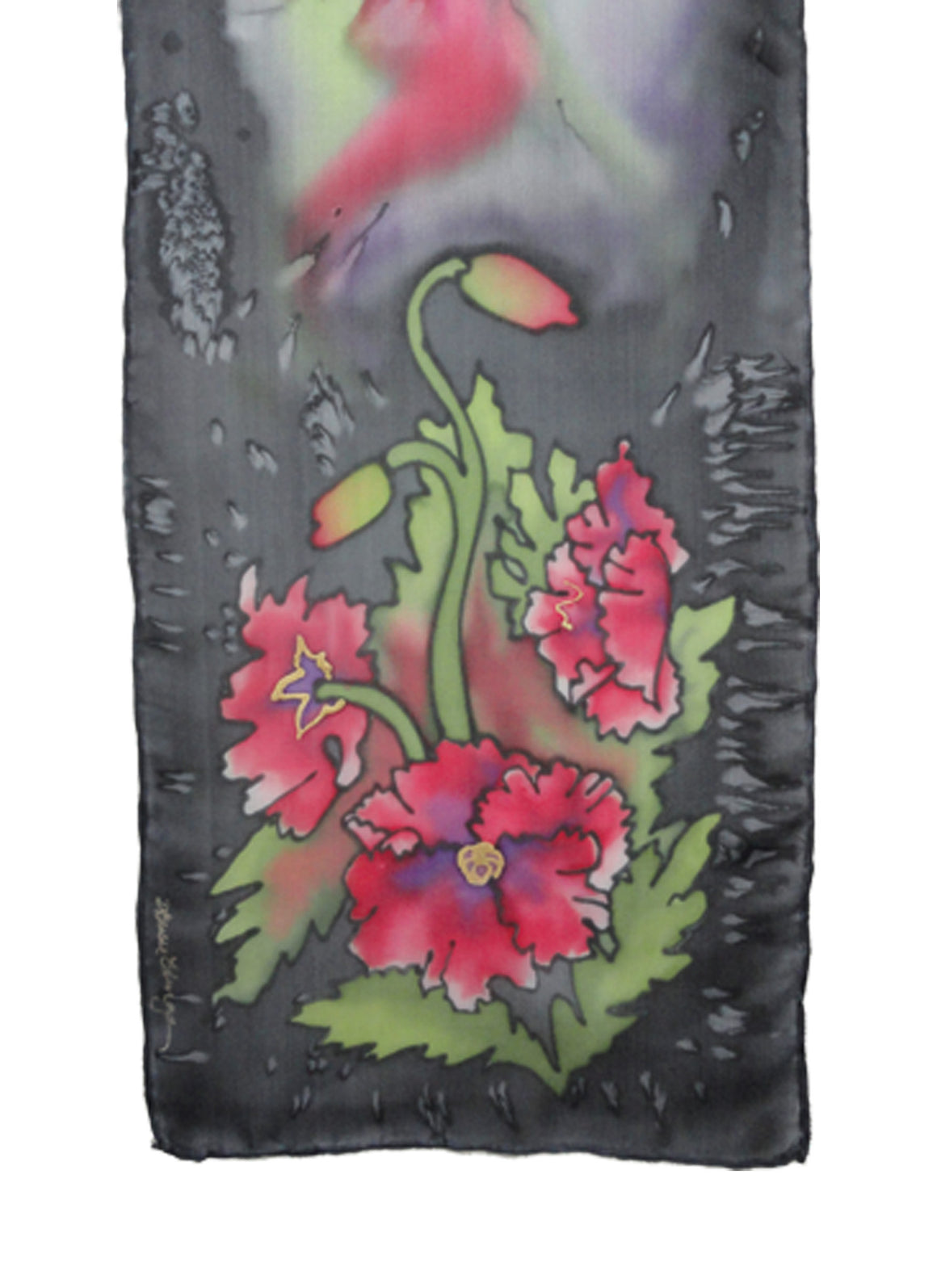 Hand-painted silk scarf red poppy design and charcoal background