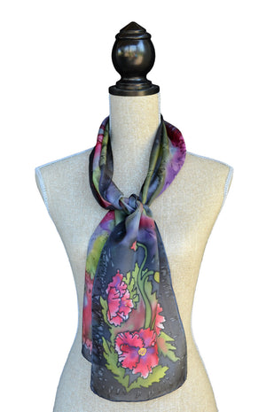 Grey poppy scarf shown on mannequin