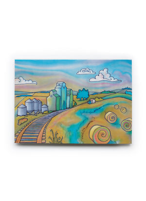 "Prairie Dusk Railway Art Card | 7"" x 5"""