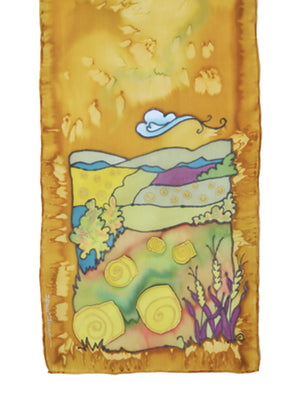 Hand-painted silk scarf hay bales design in butterscotch yellow