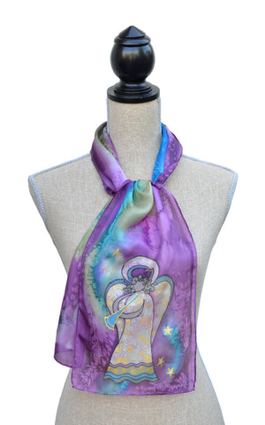 Plum joy angel scarf shown on mannequin