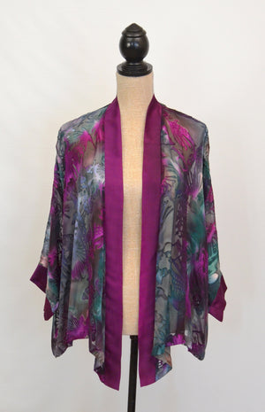 Short Silk-Satin Burnout Kimono | Clearance