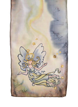 Hand-painted silk scarf beige stardust angel design