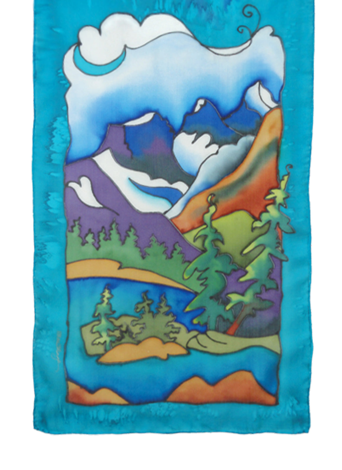 Hand-painted silk rocky mountain scene scarf