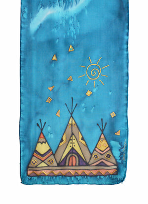 Hand-painted silk scarf blue tipi design