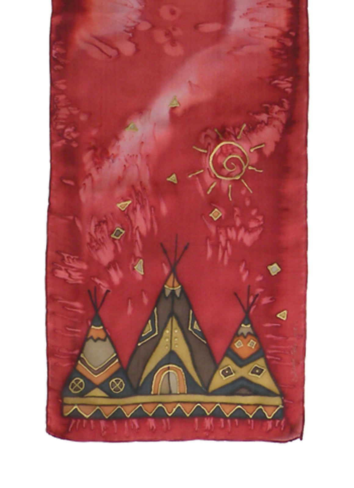 Hand-painted silk scarf red tipi design