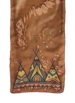 Hand-painted silk scarf brown tipi design
