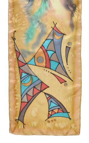 "Silk scarf with ""Tribal Dance"" design in palomino yellow"