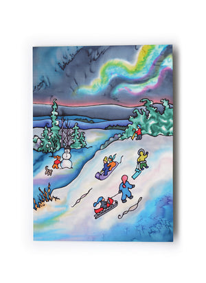 "Winter Fun - Tobogganing Art Card | 5"" x 7"""